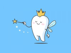 Cartoon picture of a tooth with a crown and magic wand